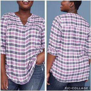 EUC Lane Bryant Pink Pintuck Plaid popover blouse